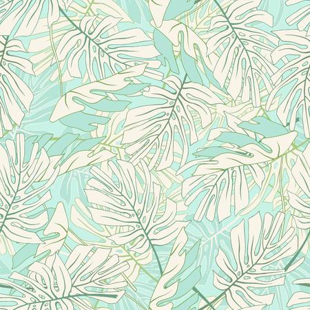 Feuilles de palmiers tropicaux Motif floral de jungle tropical sans soudure. Banque d'images - 60618938
