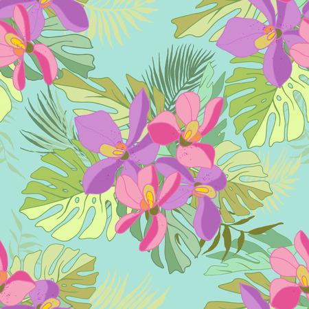 Modèle sans couture de fleurs exotiques. Fleurs tropicales et feuilles de palmier. Banque d'images - 60623699