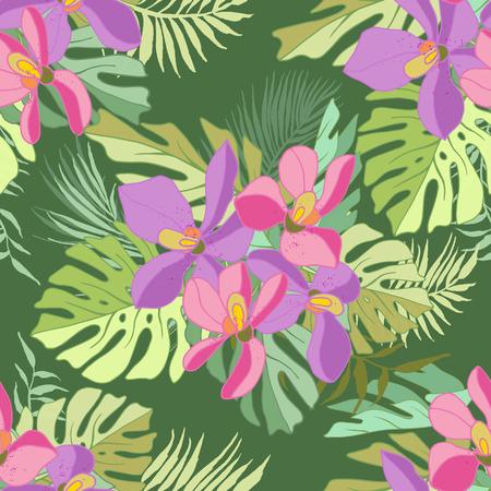 Seamless de fleurs exotiques. des fleurs et des feuilles de palmier Tropical. Banque d'images - 60623709