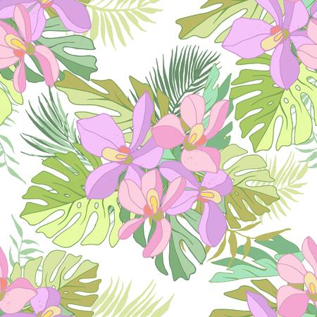 Seamless de fleurs exotiques. des fleurs et des feuilles de palmier Tropical. Banque d'images - 60624903