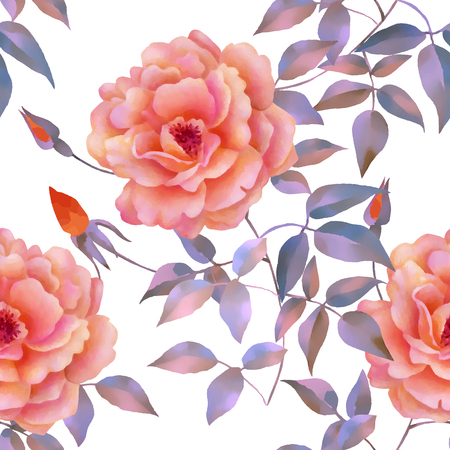 Watercolor seamless roses pattern. Background for web pages, wedding invitations, save the date cards. Illustration
