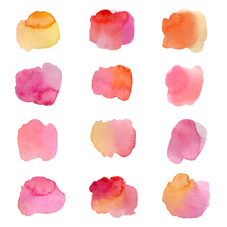 Colorful watercolor splashes isolated on white background. Hand drawn vector illustration