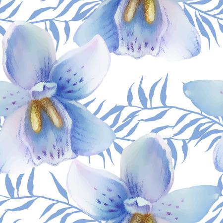 Aquarelle pattern de fleurs exotiques. Des couleurs vives aquarelle éléments botaniques Banque d'images - 63720815
