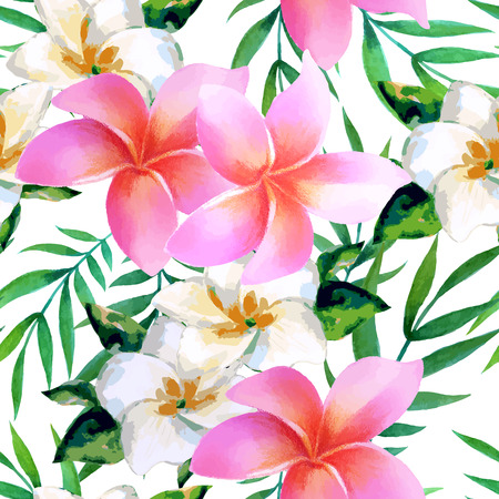 Watercolor seamless pattern of exotic flowers. Bright colors watercolor botanical elements