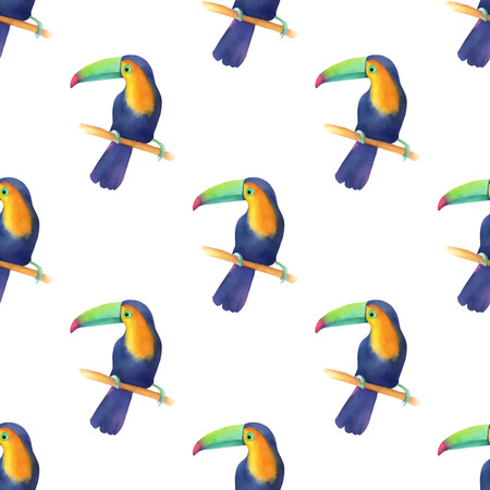 Watercolor seamless pattern with toucans  and palm leaves Illustration