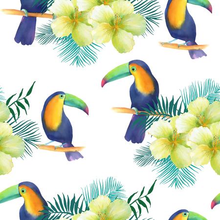 Aquarelle transparente motif de fleurs exotiques.Toucans et feuilles de palmier Banque d'images - 63720821