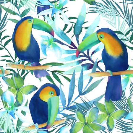 Watercolor seamless pattern of exotic flowers.Toucans  and palm leaves