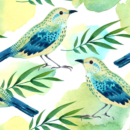 Watercolor seamless pattern with birds