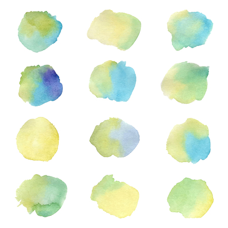 Colorful watercolor splashes isolated on white background. Hand drawn illustration