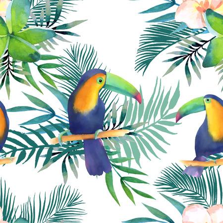 Aquarelle transparente motif de fleurs exotiques.Toucans et feuilles de palmier Banque d'images - 63721053