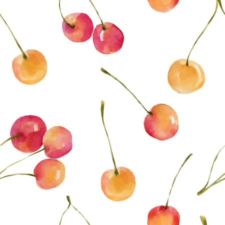 Watercolor cherries isolated on white background. Organic food illustration.