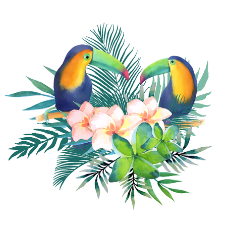 Watercolor illustration of a cute toucans sitting on a branch with leaves