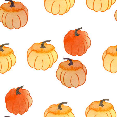 Seamless pattern with pumpkin pies and pumpkins Illustration