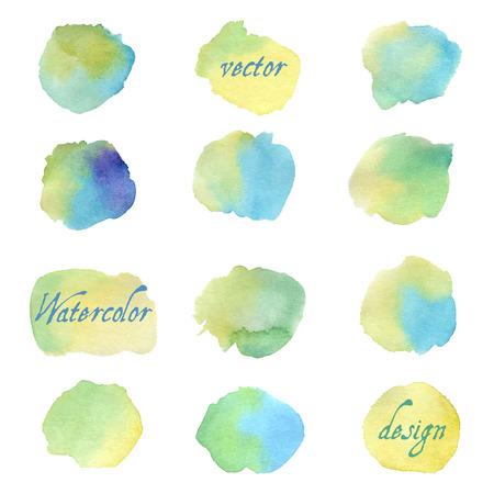 Des éclaboussures colorées d'aquarelle isolées sur fond blanc. Illustration dessiné à la main Banque d'images - 63721070