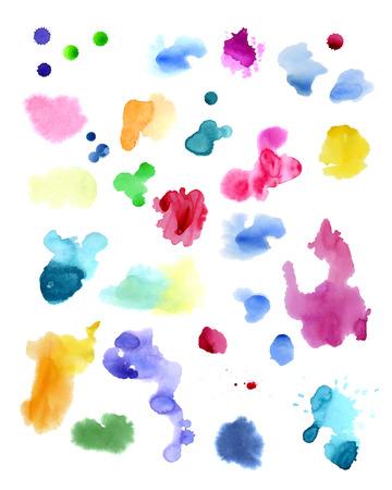 Aquarelle éclaboussures isolés sur fond blanc Banque d'images - 63721249