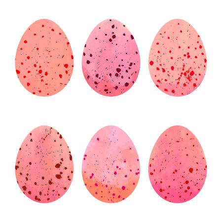 Watercolor Easter eggs set design elements. Illustration