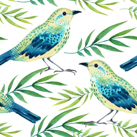 Watercolor seamless pattern with birds illustration
