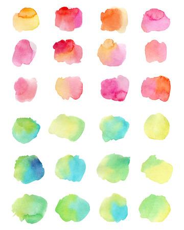 Watercolor splashes isolated on white background illustration.
