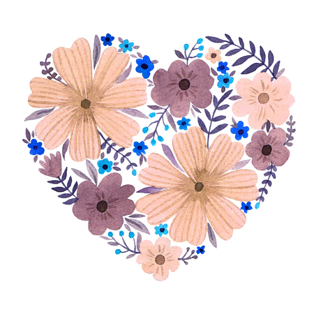 Watercolor heart of flowers.  Valentines Day card.