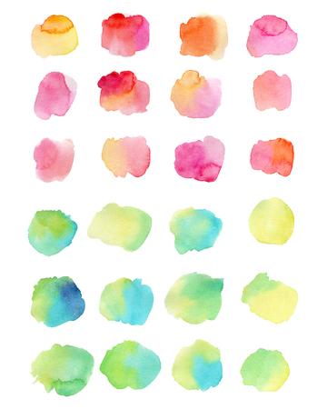 Aquarelle éclabousse isolé sur fond blanc. Illustration dessinée à la main. Formes colorées abstraites Banque d'images - 63721261