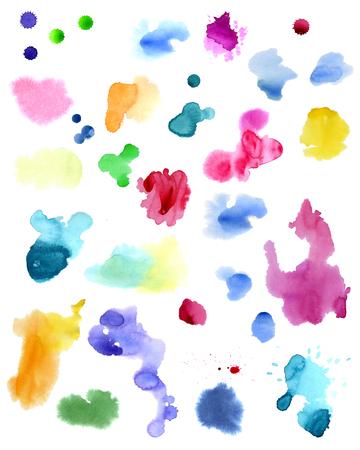 Aquarelle éclabousse isolé sur fond blanc. Illustration dessinée à la main. Formes colorées abstraites Banque d'images - 63721265