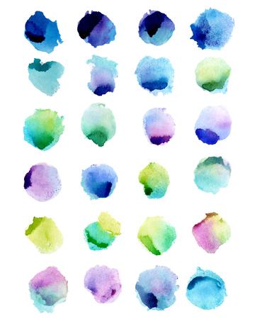 Aquarelle éclabousse isolé sur fond blanc. Illustration dessinée à la main. Formes colorées abstraites Banque d'images - 63721264