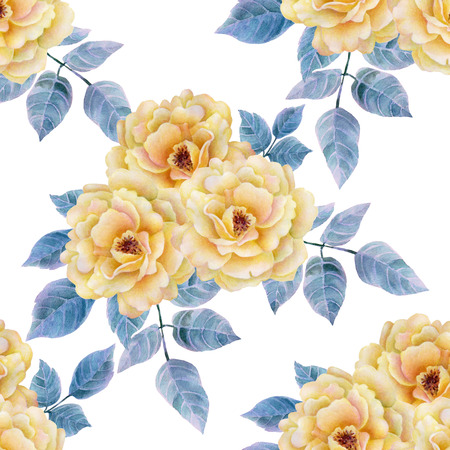 Watercolor seamless roses pattern. Background for web pages, wedding invitations, save the date cards. Reklamní fotografie