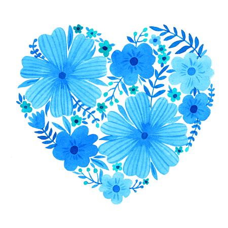Coeur d'aquarelle de fleurs. Carte Saint Valentin. Banque d'images - 67462524