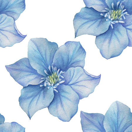 Watercolor flowers seamless pattern. Bright colors watercolor background.