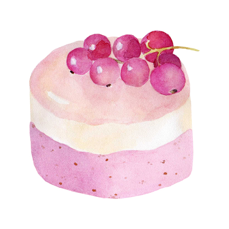 Cake on white background hand drawn watercolor illustration on white background. It can be used for card, postcard, cover, invitation, wedding card, birthday card.