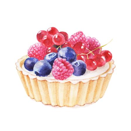 Tartlet avec des fruits à la main dessinée d'illustration aquarelle sur fond blanc. Il peut être utilisé pour carte, carte postale, couverture, invitation, carte de mariage, carte d'anniversaire. Banque d'images - 67669953