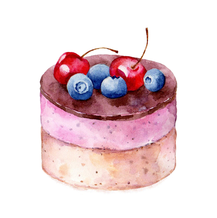 Cheesecake on white background hand drawn watercolor illustration. It can be used for card, postcard, cover, invitation, wedding card, birthday card.