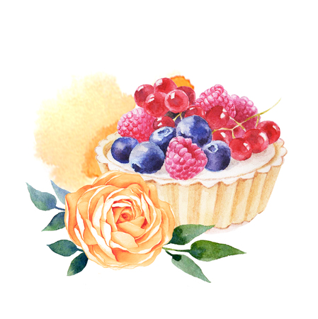 Cake hand drawn watercolor illustration on white background. It can be used for card, postcard, cover, invitation, wedding card, birthday card.