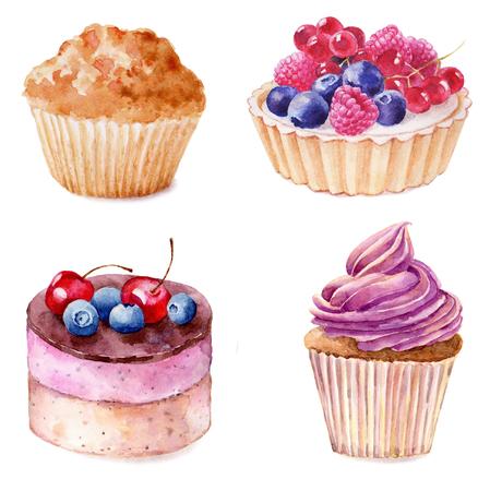 Ensemble de petits gâteaux à l'aquarelle illustration main dessiné sur fond blanc. Il peut être utilisé pour la carte, carte postale, couverture, invitation, carte d'anniversaire. Banque d'images - 67644061
