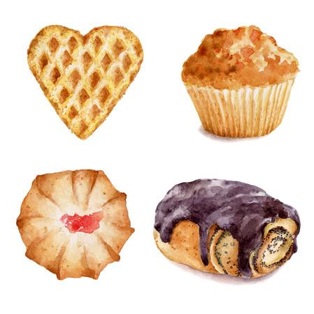 Ensemble de petits gâteaux à l'aquarelle illustration main dessiné sur fond blanc. Il peut être utilisé pour la carte, carte postale, couverture, invitation, carte d'anniversaire. Banque d'images - 67646343