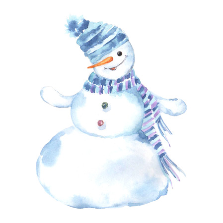 Watercolor illustration of a snowman on a white background. Christmas Greeting Card. Standard-Bild