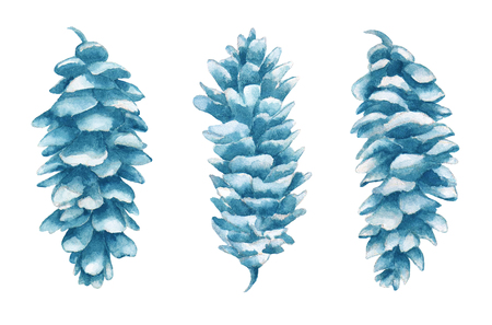 Watercolor cones set in isolated on white background. Cones hand painted illustration. Standard-Bild