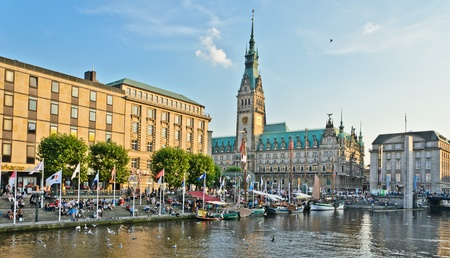 town halls: Beauty of the city of Hamburg and the river Alster Editorial