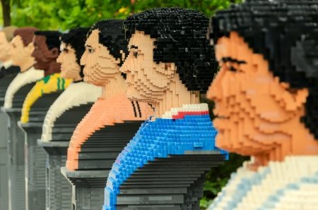 lego: Lego sculptures of famous football players  Editorial