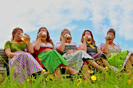 young girls having fun at the garden party