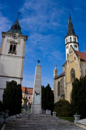 slovak republic: main square levoca towers