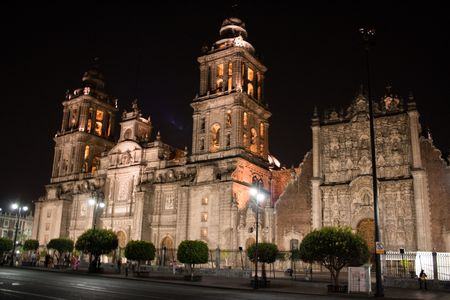 mexico city cathedral by night Stock Photo