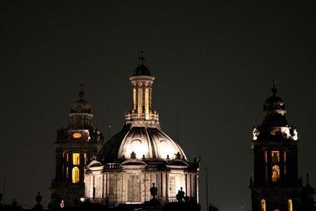 M�xico ciudad catedral de noche Foto de archivo