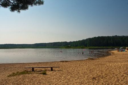 lake beach: Lake Beach Stock Photo