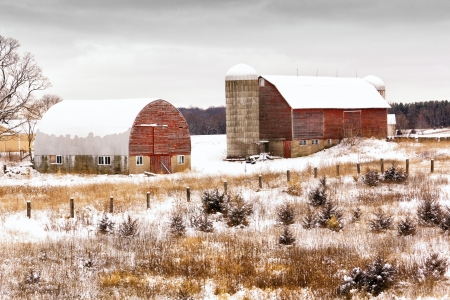 Winter on a Midwestern farm after first snow. photo