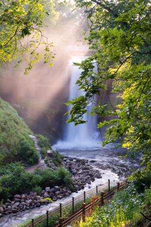 Minnehaha Falls cascading in Minneapolis, Minnesota  photo