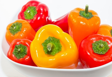 Yellow, Orange and Red Baby Bell Peppers photo