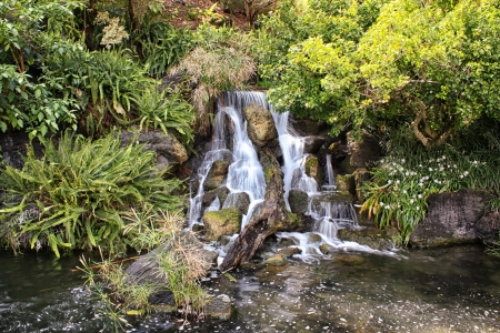 Whispy Waterfall with brilliant green foliage Stock Photo - 15058098