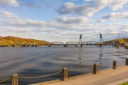 separating: Stillwater Lift Bridge Separating Minnesota and Wisconsin Over St. Croix River