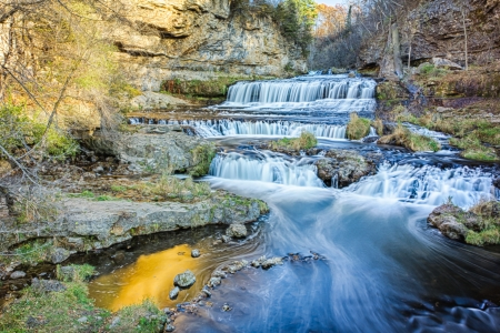 autumnn: Willow River Falls on a Late Afternoon Day in Autumn Stock Photo